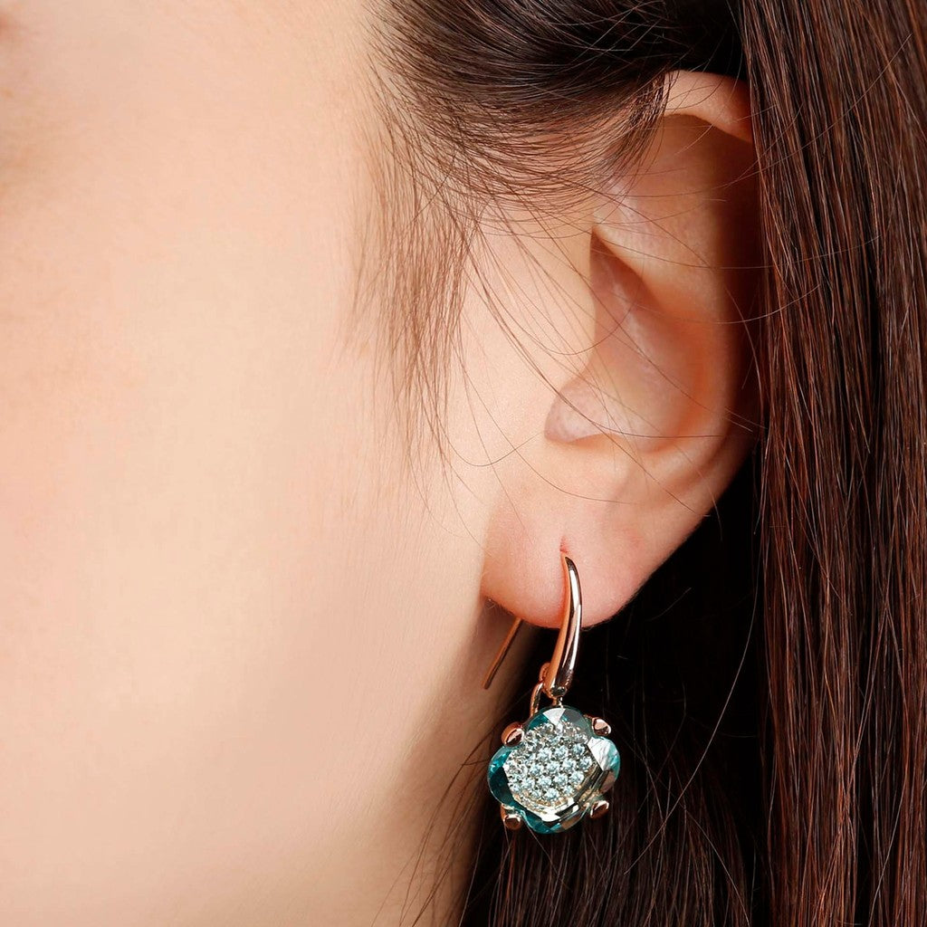 worn Fancy Flower Dangle Earrings