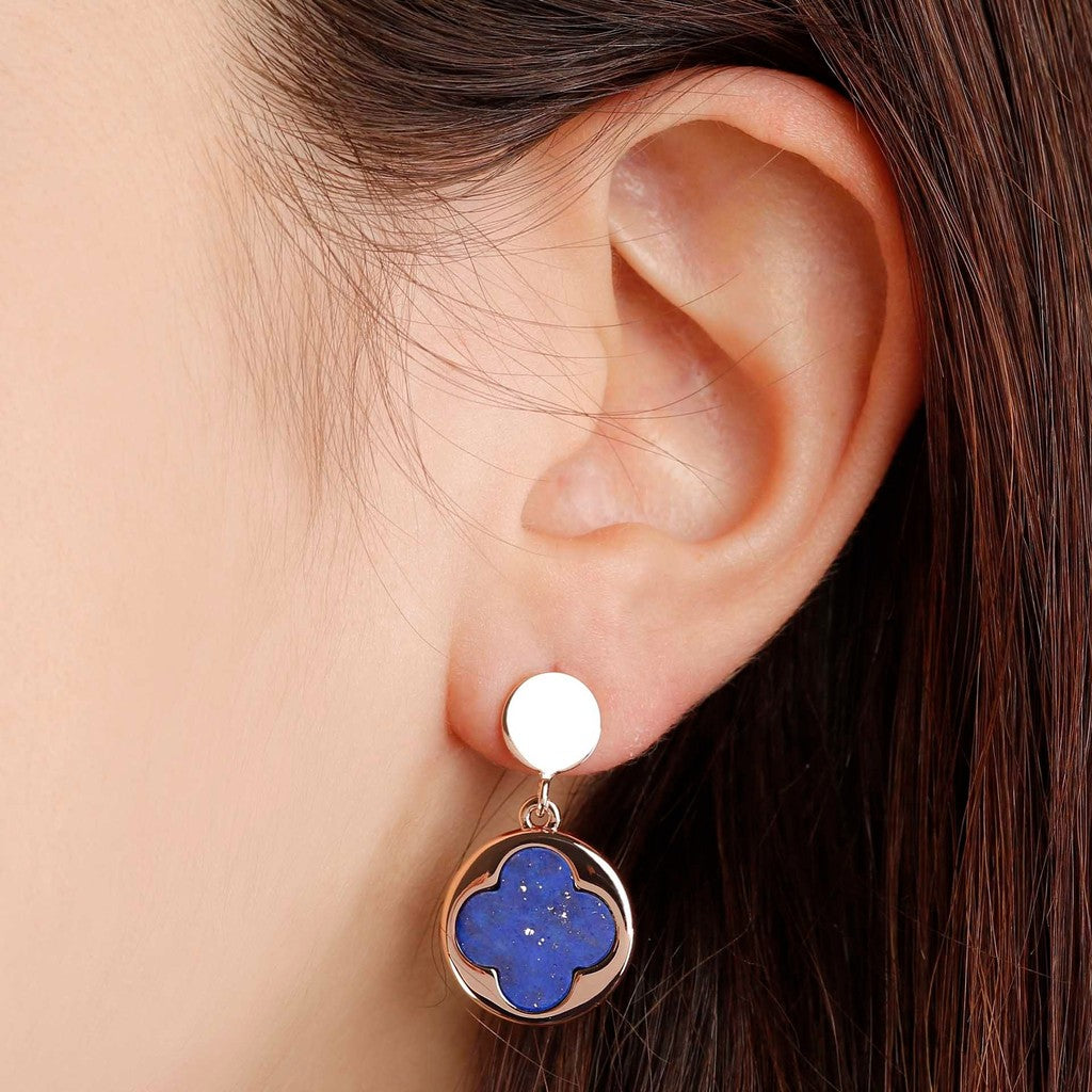 worn Four Leaf Clover Dangle Earrings LAPIS