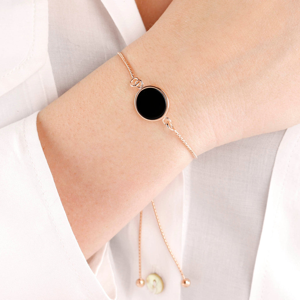 worn Friendship Bracelet Disc BLACK ONYX