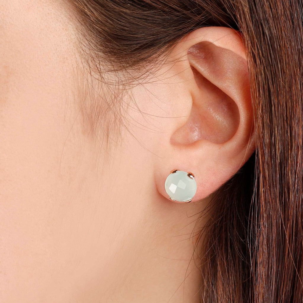 worn Gemstone Stud Earrings