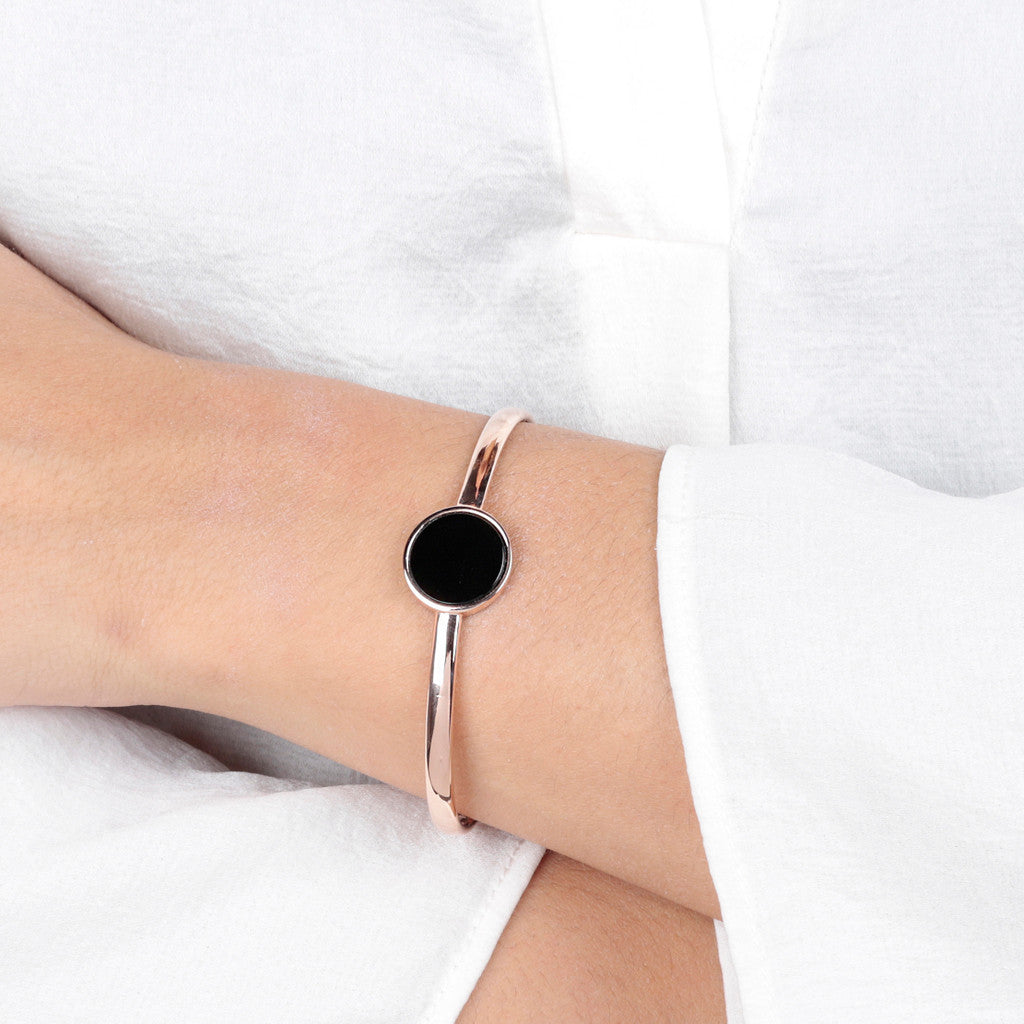 worn Genuine Gemstone Charm Open Bangle BLACK ONYX