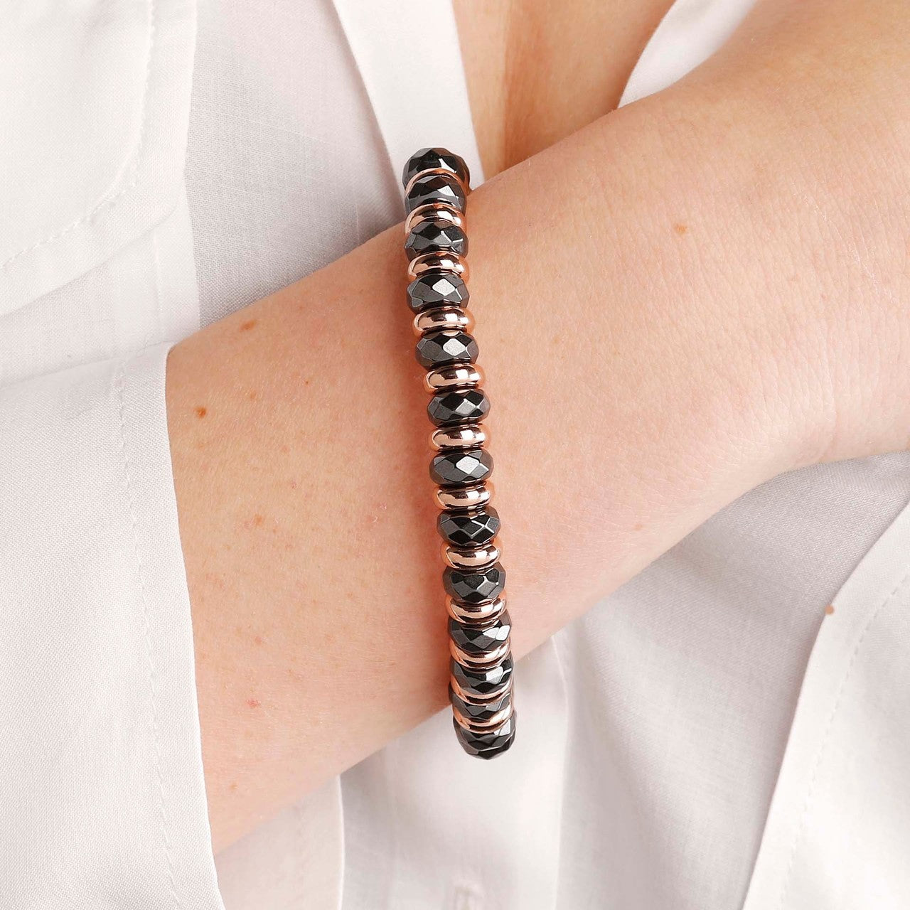 worn Hematite stretch bracelet