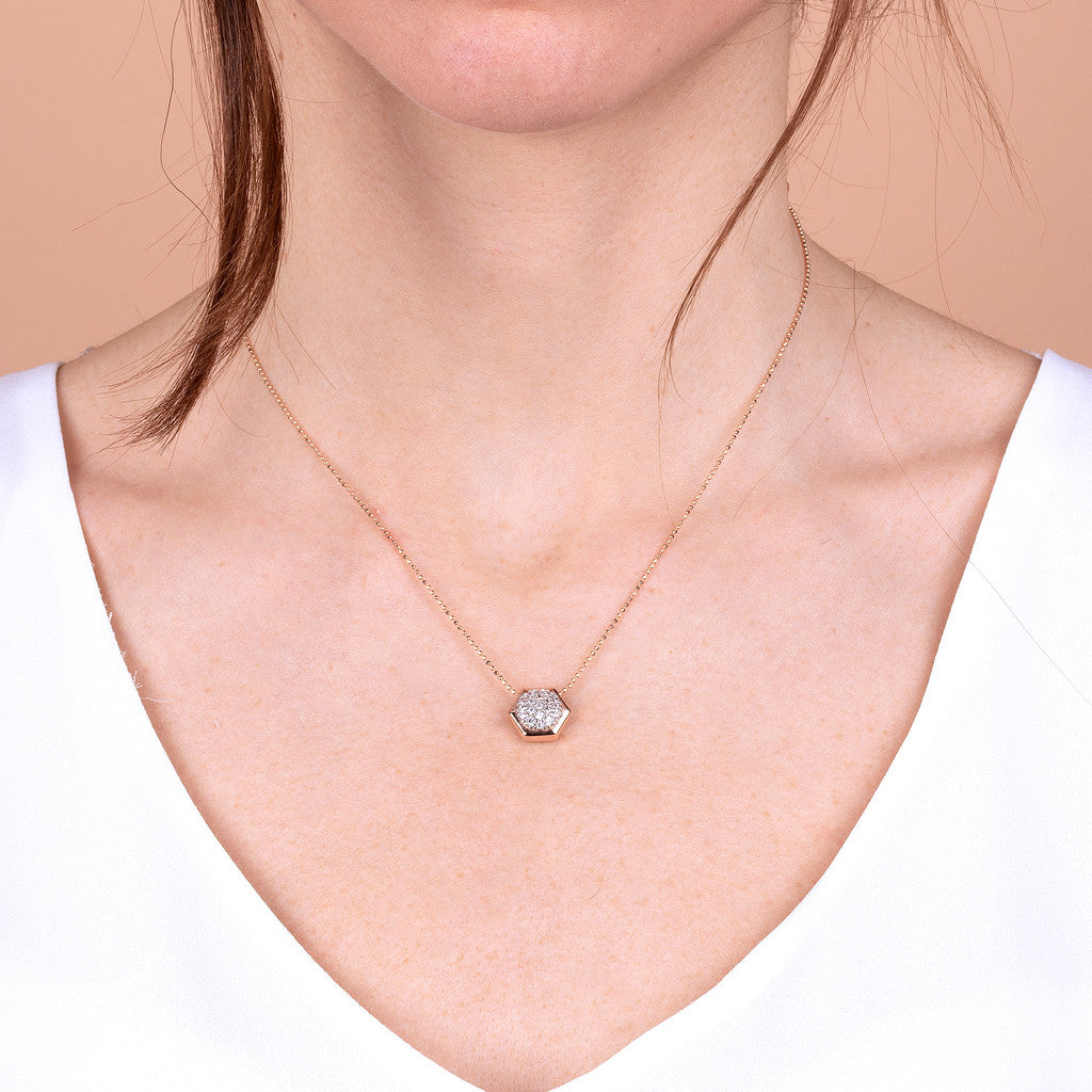 worn Hexagon CZ Necklace