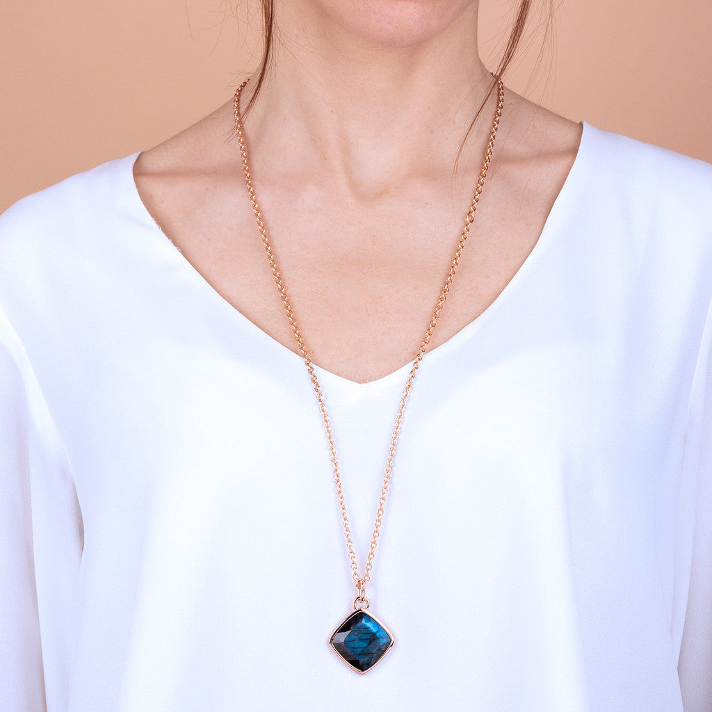 worn Incanto Rhombus Shape Necklace LABRADORITE