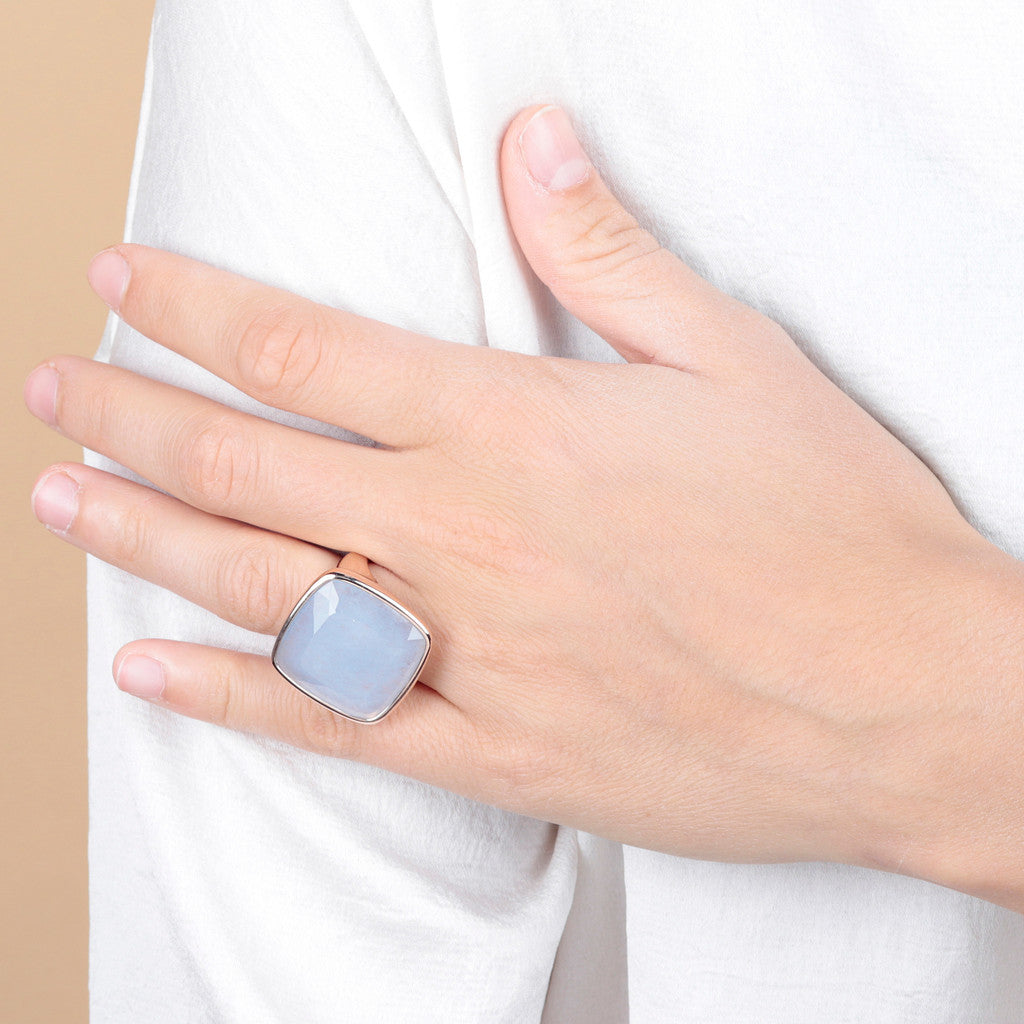 worn Incanto Rhombus Shape Ring  LIGHT BLUE QUARTZITE