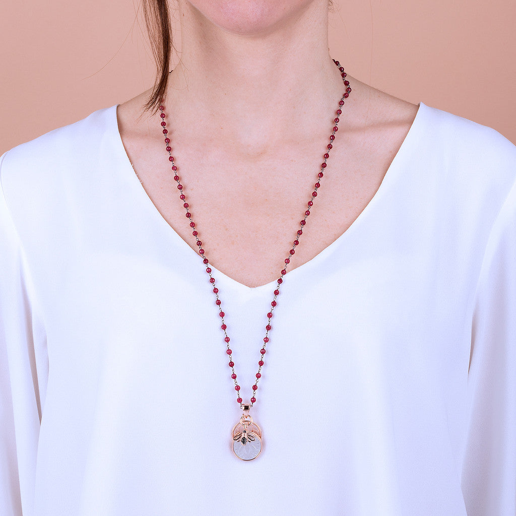 worn Lira Bee Hive Necklace RUBY CHALCEDONY