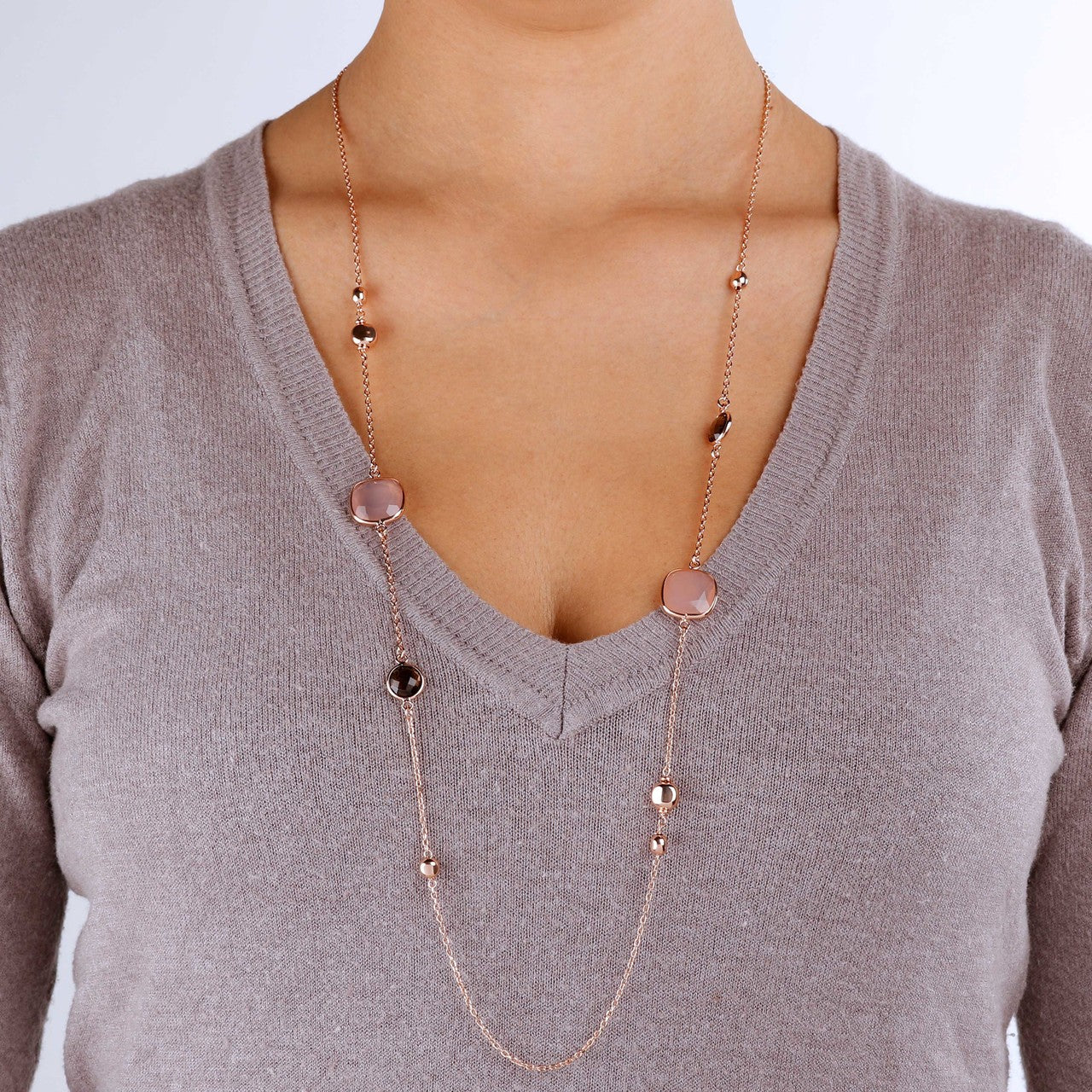 worn Long Geometric Necklace