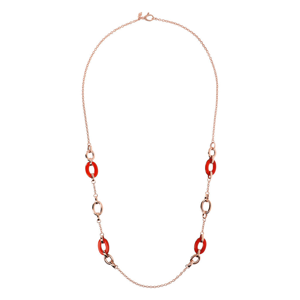 worn Long Necklace with Natural Stone Links CARNELIAN