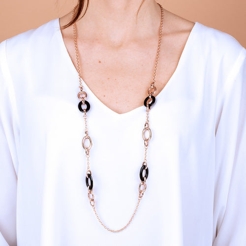Bronzallure | Necklaces | Long Necklace with Natural Stone Links