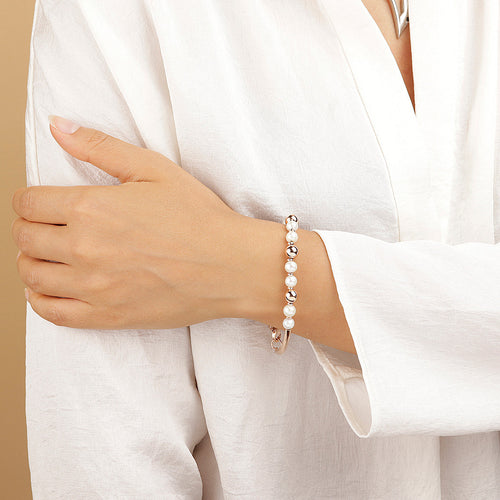 worn MAXIMA BRACELET WITH PEARLS AND POLISHED BEADS - WSBZ01537