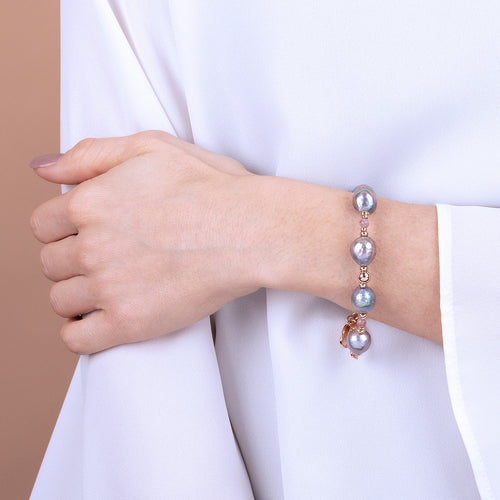 Bronzallure | Bracelets | MAXIMA POLISHED BEAD AND CULTURED PEARL BRACELET - WSBZ01733