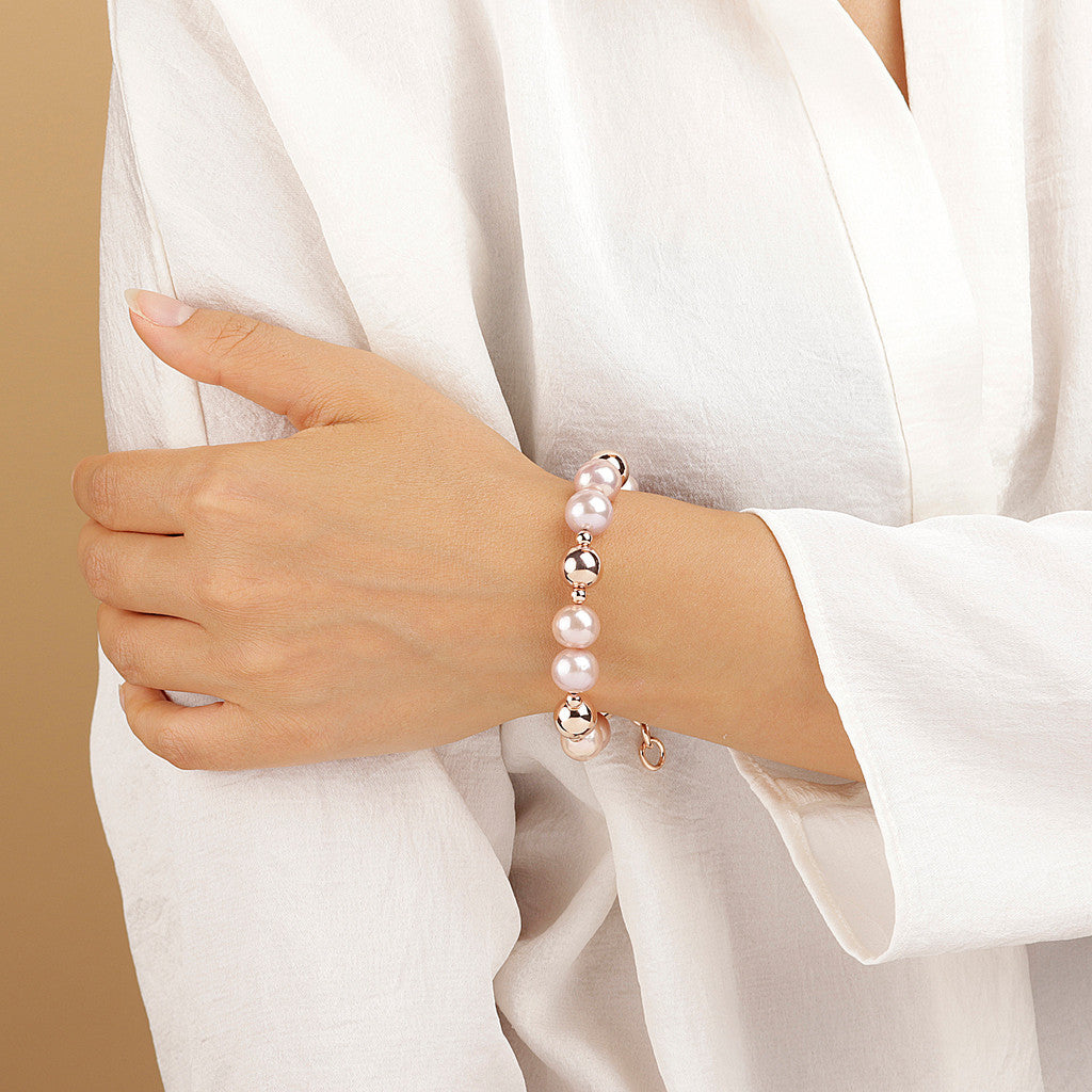worn MAXIMA Stretch Bracelets with pearl - WSBZ01698