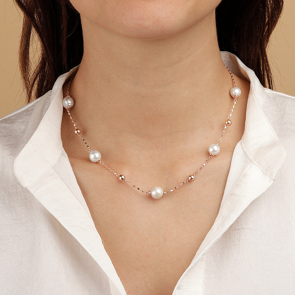 worn MAXIMA VARIEGATA DIAMOND CUT CUBETTO NECKLACE WITH MING CULTURED PEARLS  - WSBZ01658