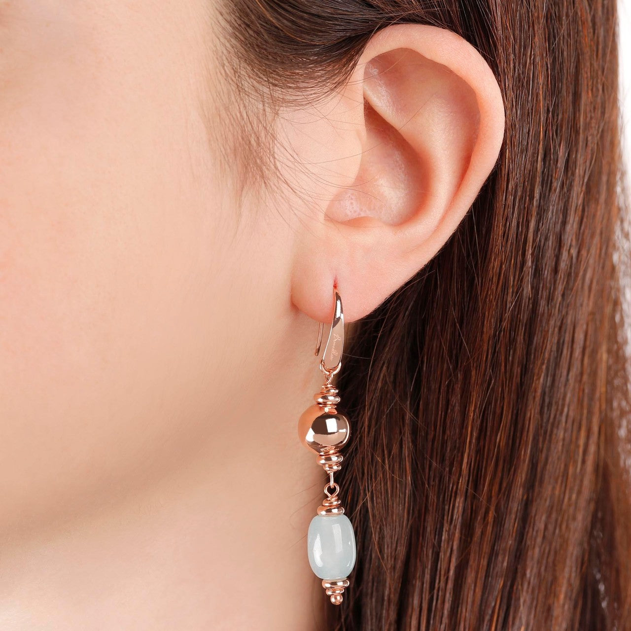 worn Milky Aquamarine Earrings