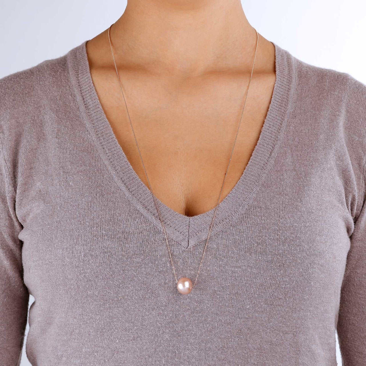 worn Pearl slide necklace