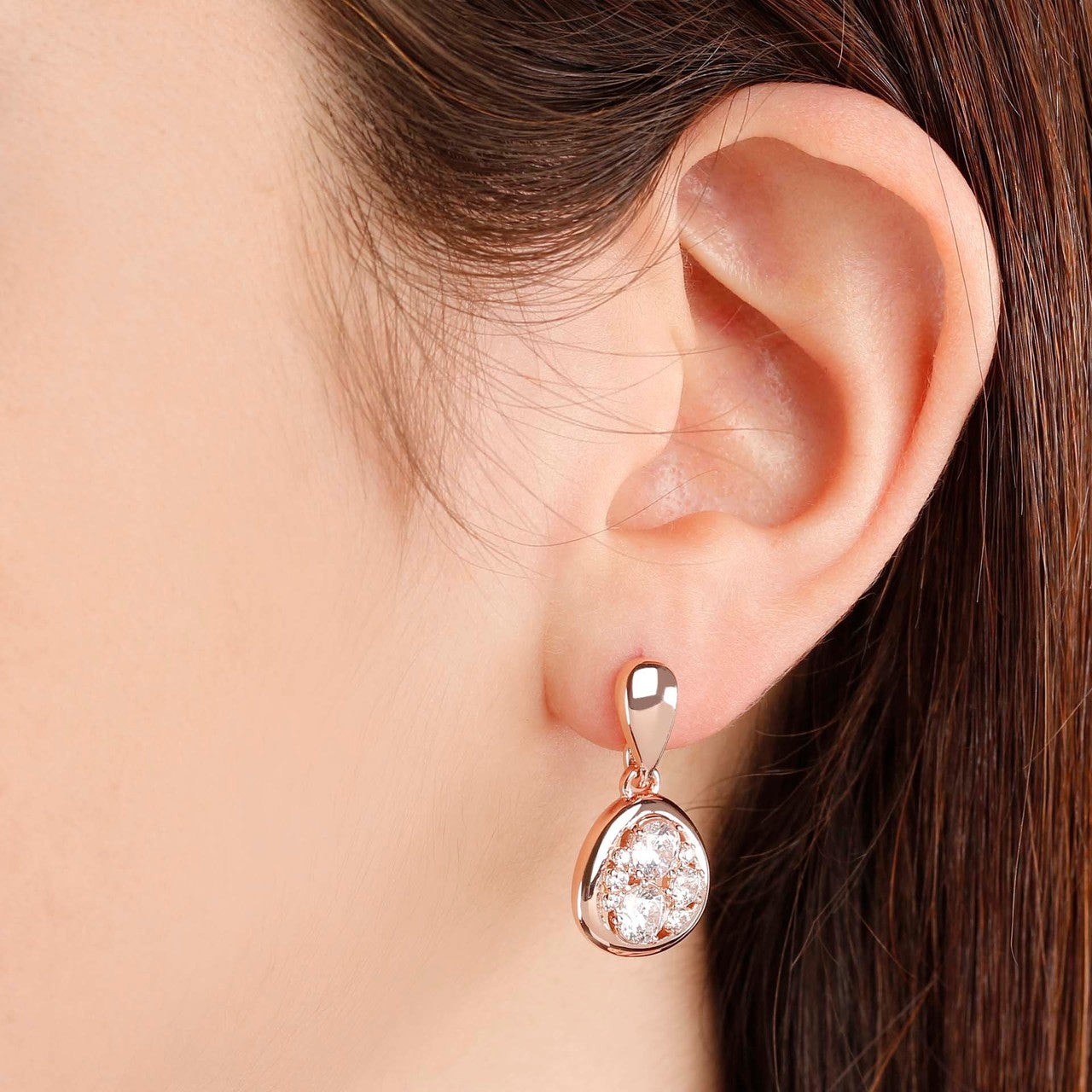 worn Moon Earrings CUBIC ZIRCONIA