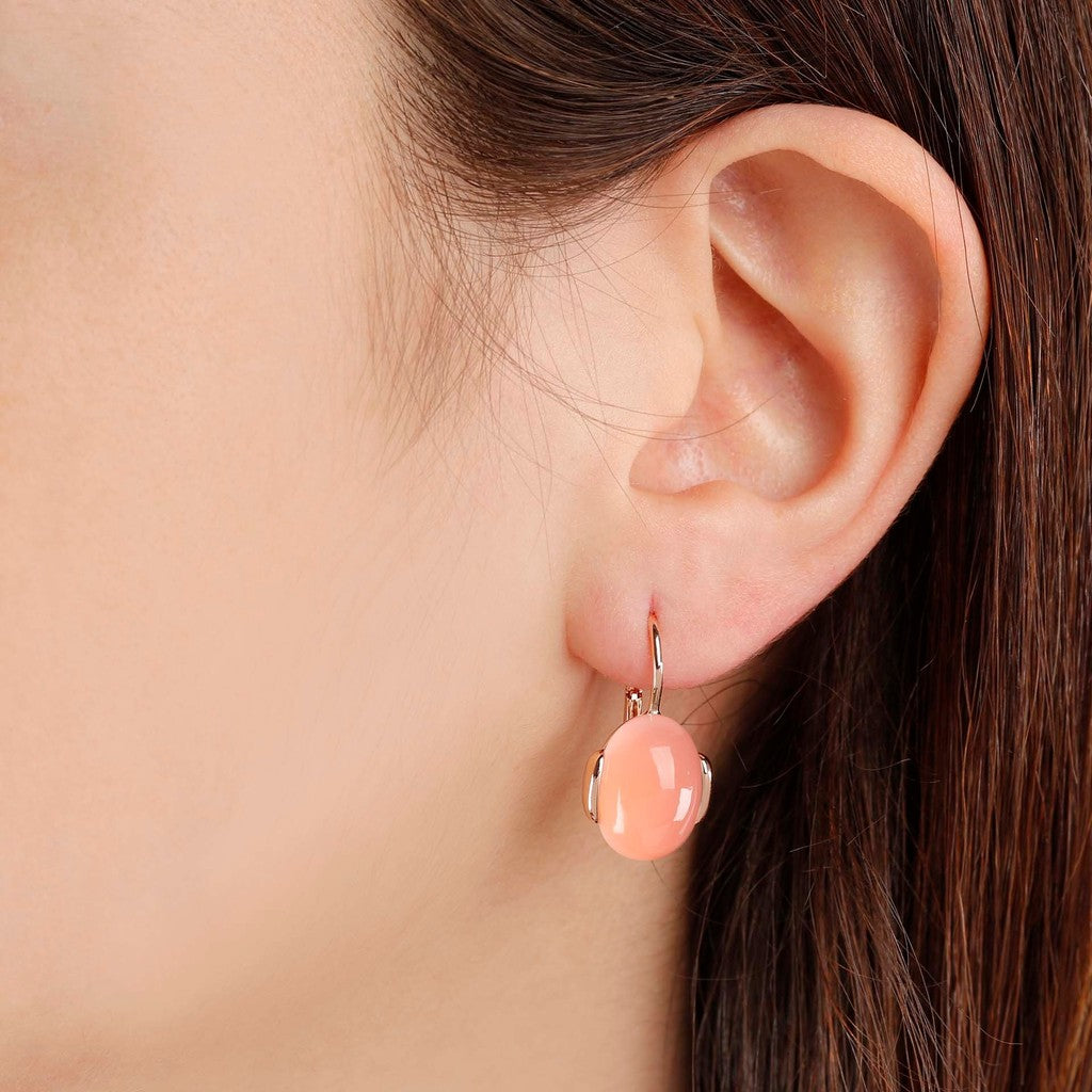 worn Oval Chobachon Dangle Earrings PINK CHALCEDONY