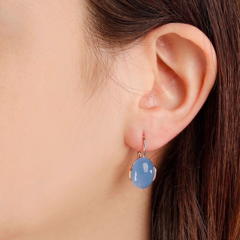 worn Oval Chobachon Dangle Earrings