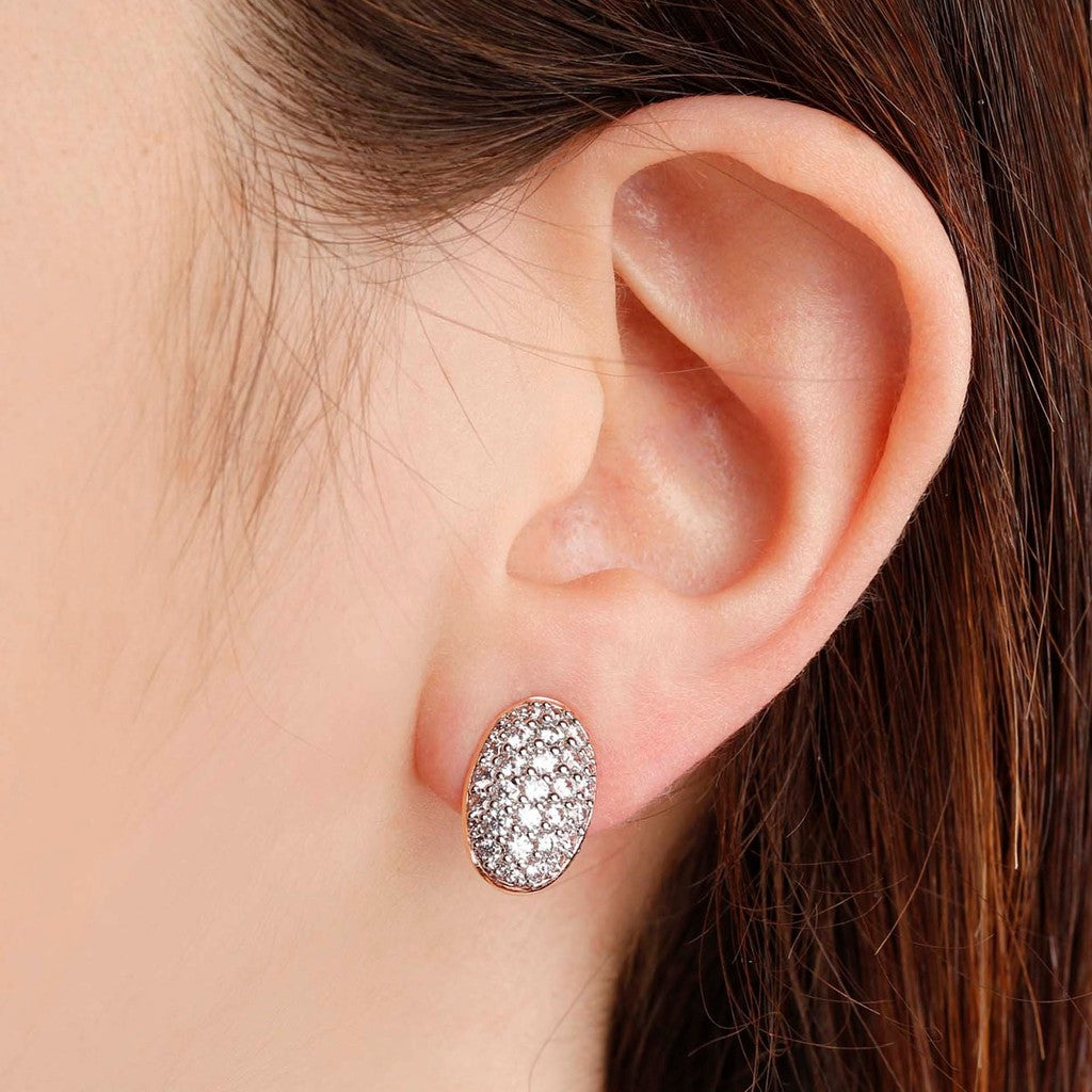 worn Oval Pave Button Earrings CUBIC ZIRCONIA