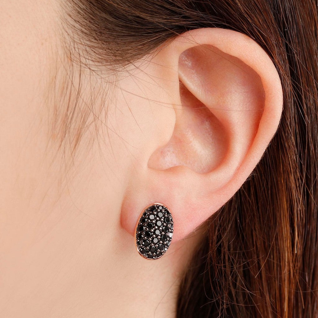 worn Oval Pave Button Earrings