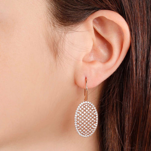 worn Oval Pave Earrings