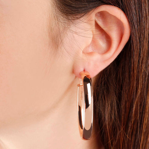 Bronzallure | Earrings | Golden Rosé Oval Hoop Earrings