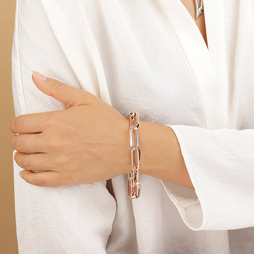 worn PUREZZA SHINY ELONGATED LINK BRACELET - WSBZ01664