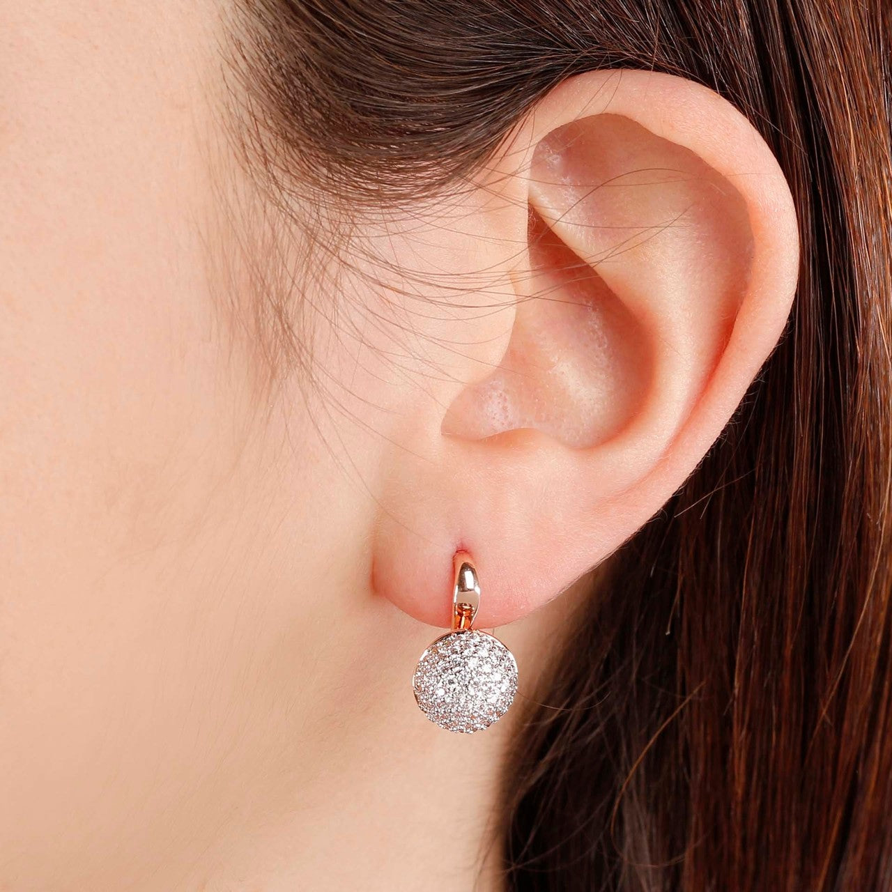 worn Pave Stud Earrings CUBIC ZIRCONIA