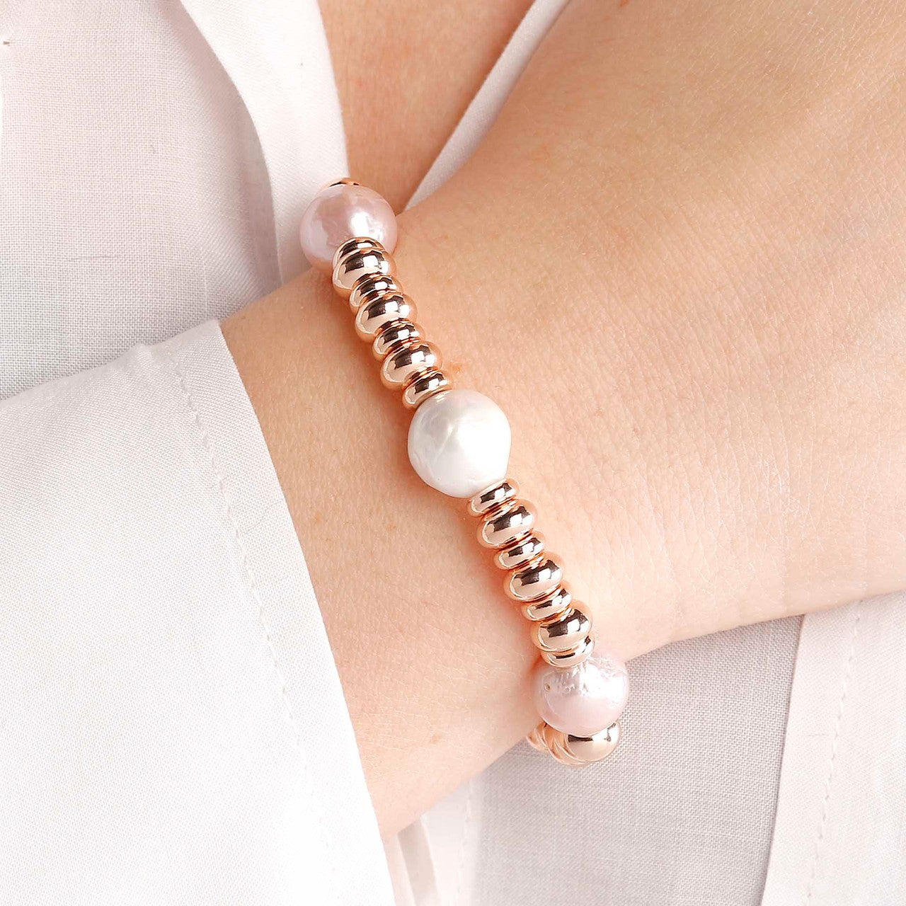 worn Pearls and Discs Bracelet
