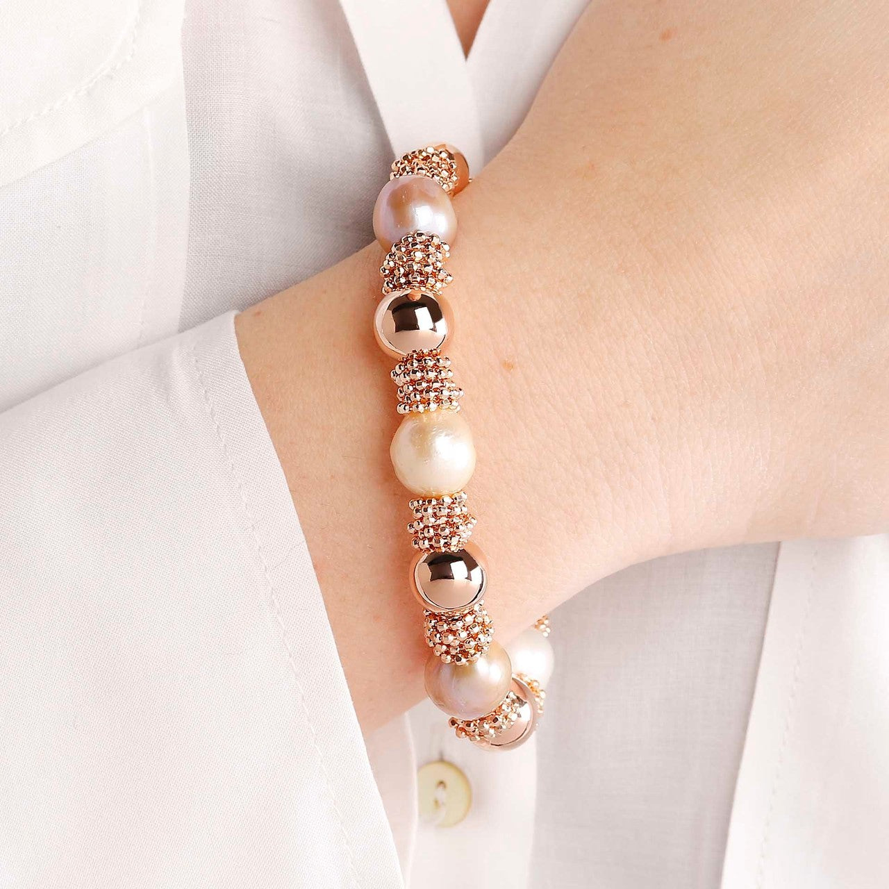 worn Pearls and Microbeads Bracelet