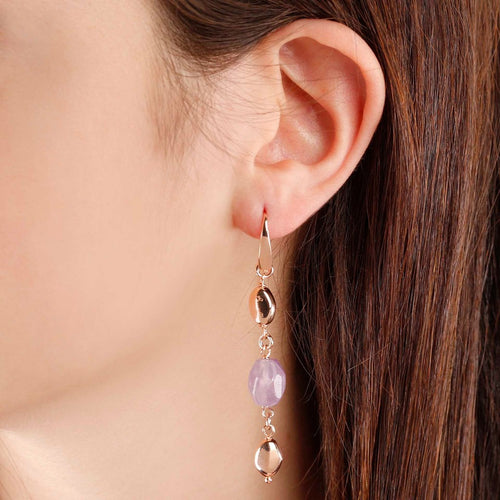worn Pendant Earrings with Amethyst