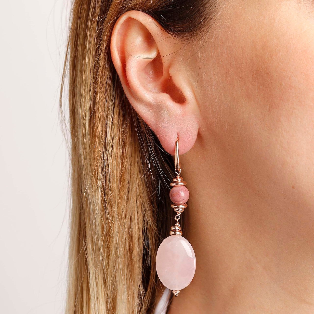 worn Pink Dangle Earrings