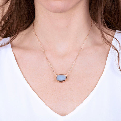 Bronzallure | Necklaces | Collier Necklace with Faceted Milky Aquamarine Pendant