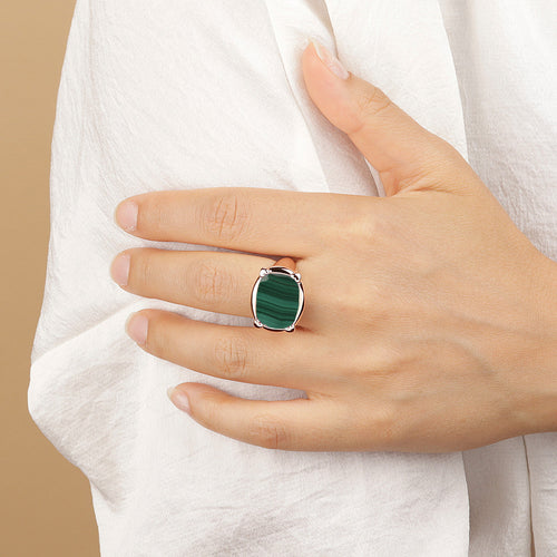 Bronzallure | Rings | Queen Ring in Golden Rosé with Malachite