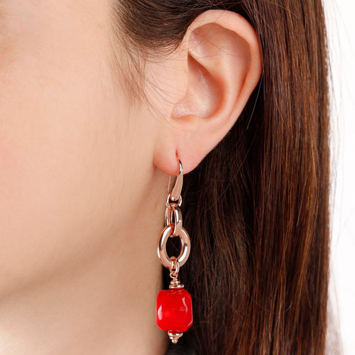 worn Red Coral Earrings