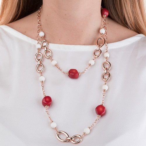 worn Red Coral Stone Necklace