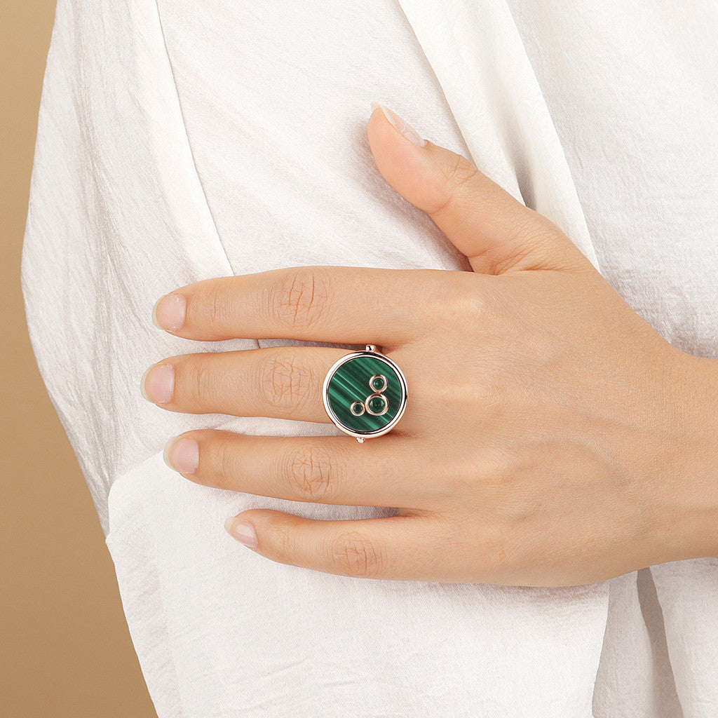 worn Ring With Cabochon MALACHITE
