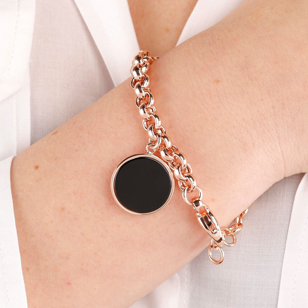 worn Rolo Bracelet with Gemstone BLACK ONYX