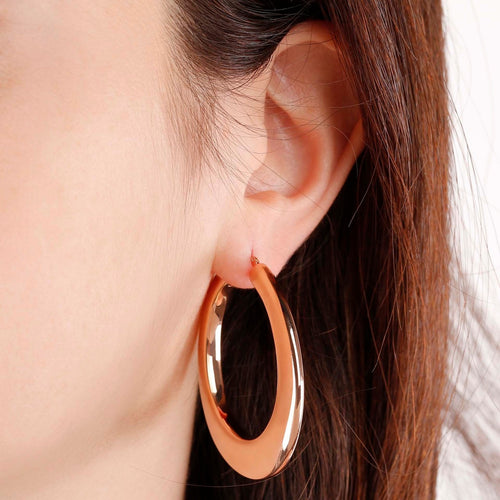 worn Rose Gold Hoop Earrings