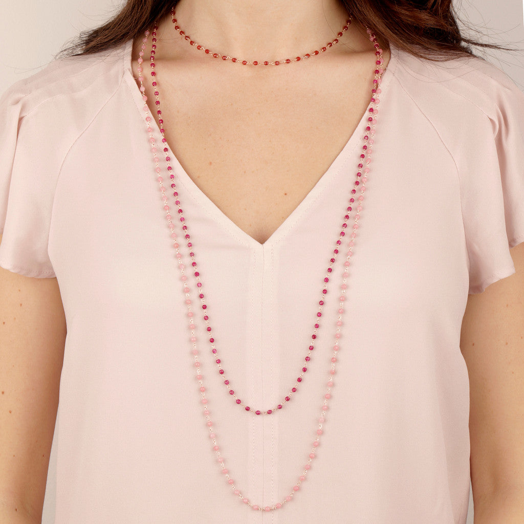 worn Rose Quartzite Amorette Necklace
