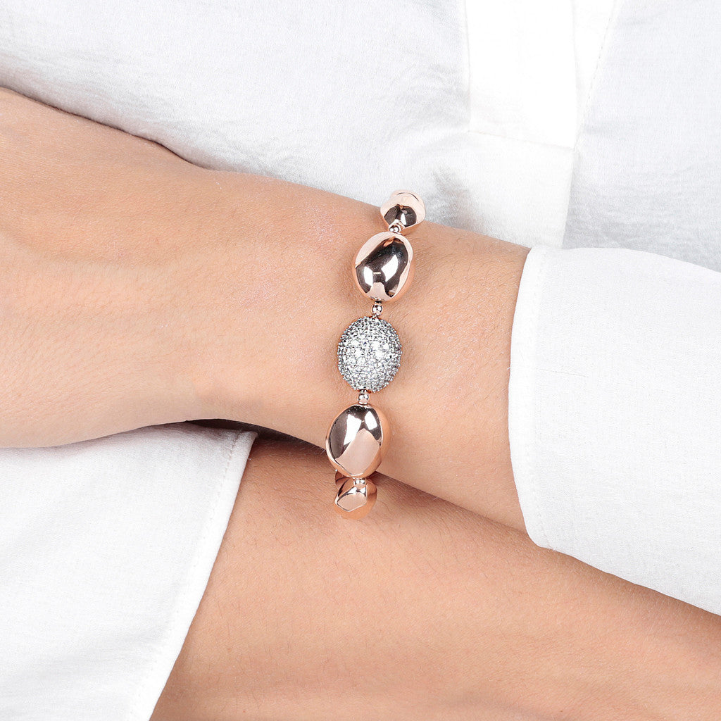 worn Shiny Nugget Bracelet with CZ CUBIC ZIRCONIA
