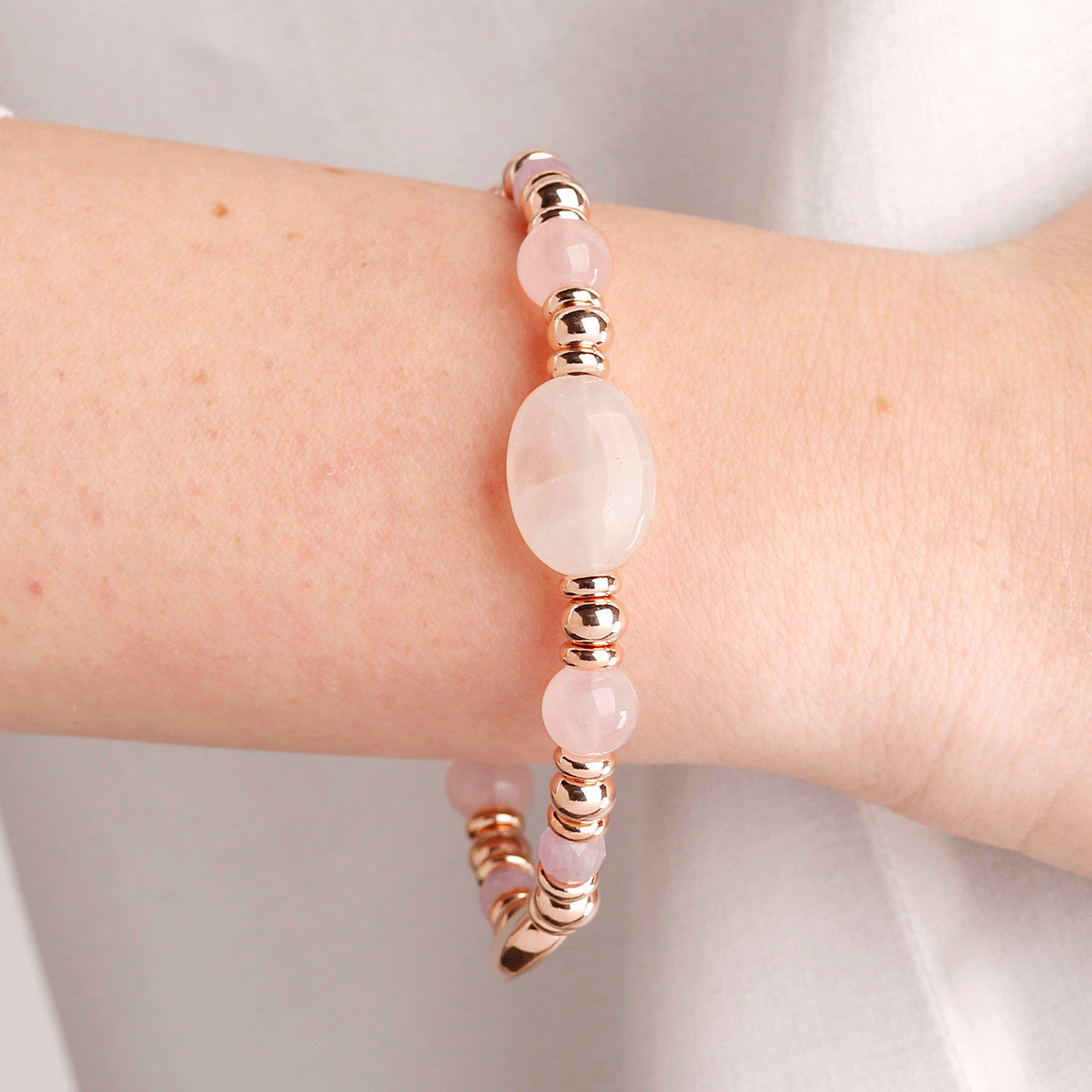 worn Stone Beaded Bracelet ROSE QUARTZ