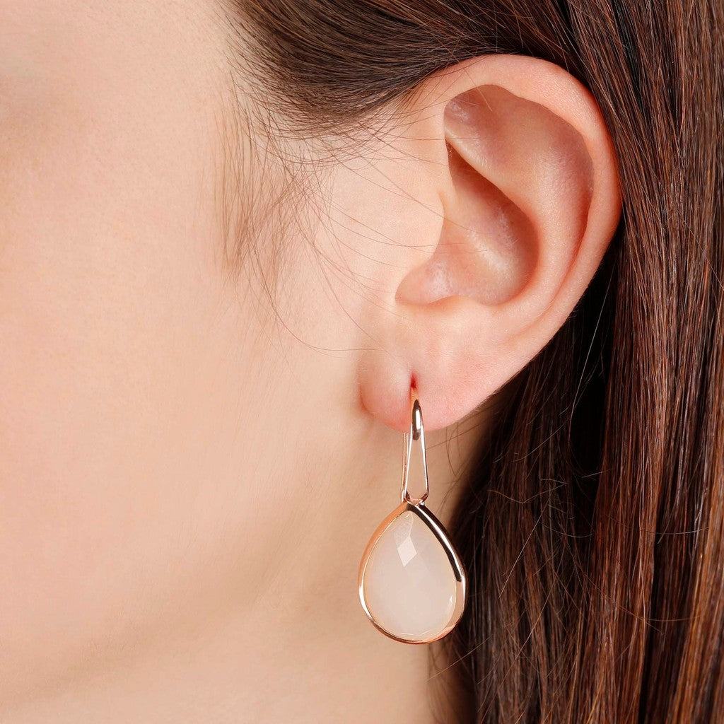 worn Teardrop earrings WHITE CHALCEDONY