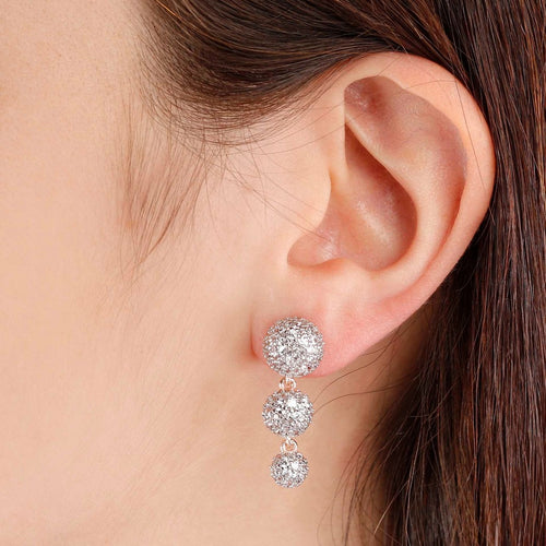 worn Trilogy Pave Earrings