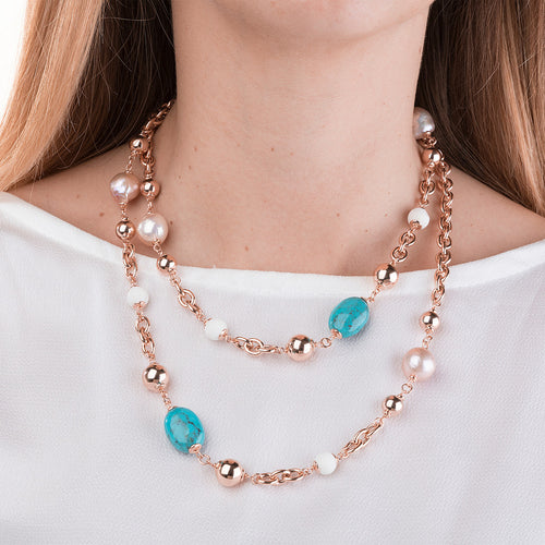 worn Turquoise and Pearl Necklace