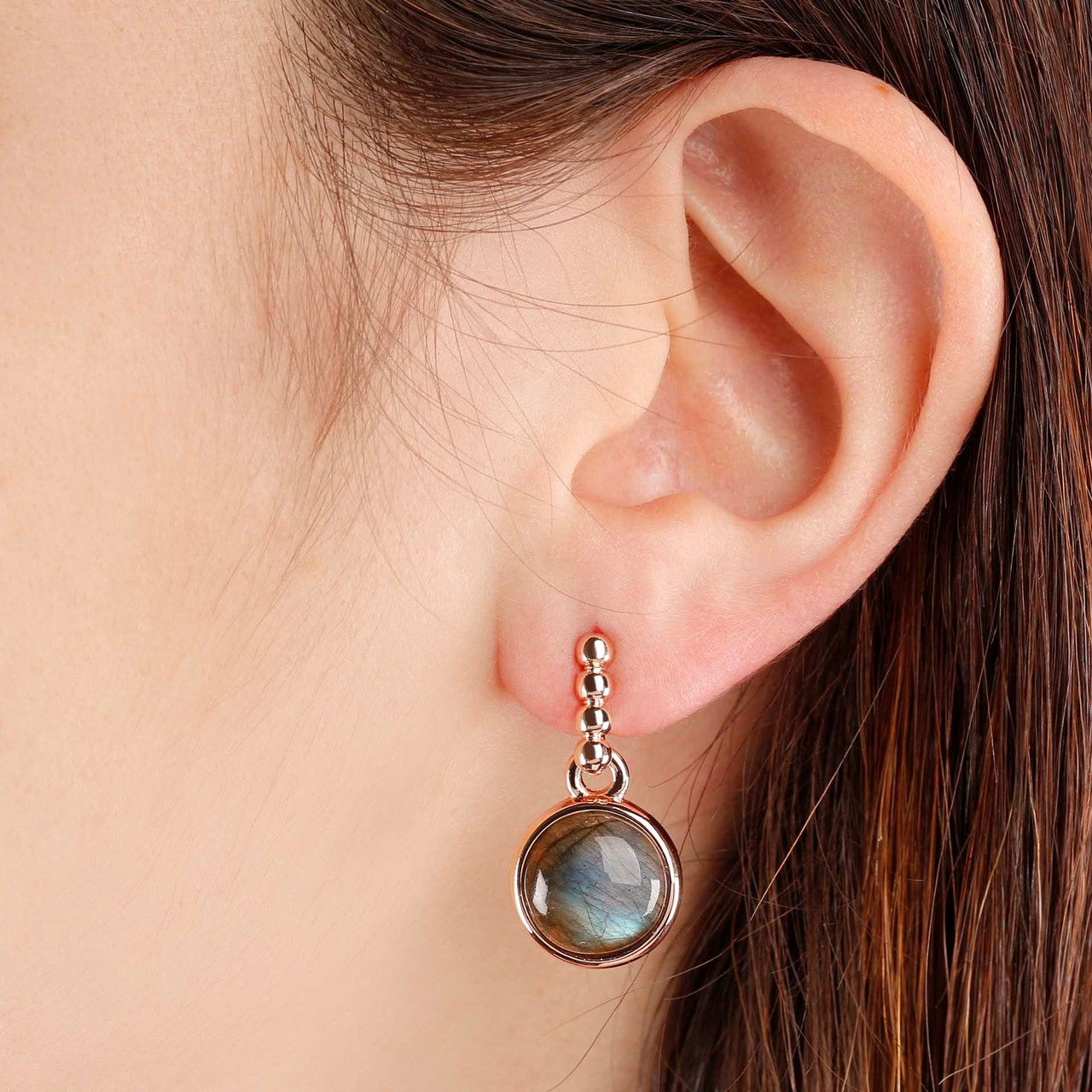 worn Two Tone Disc Dangle Earrings
