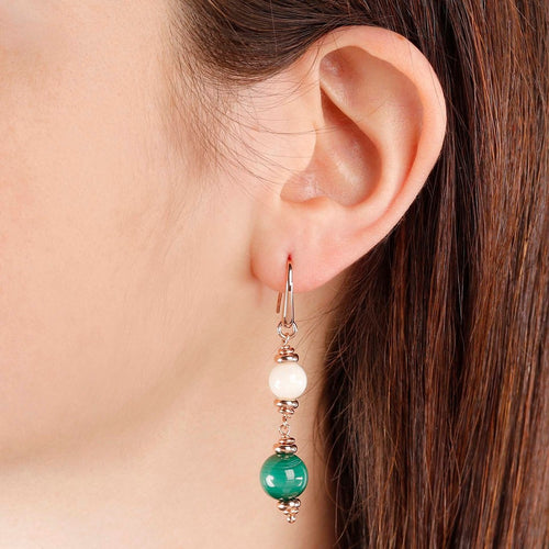 worn White Coral Malachite Dangle Earrings