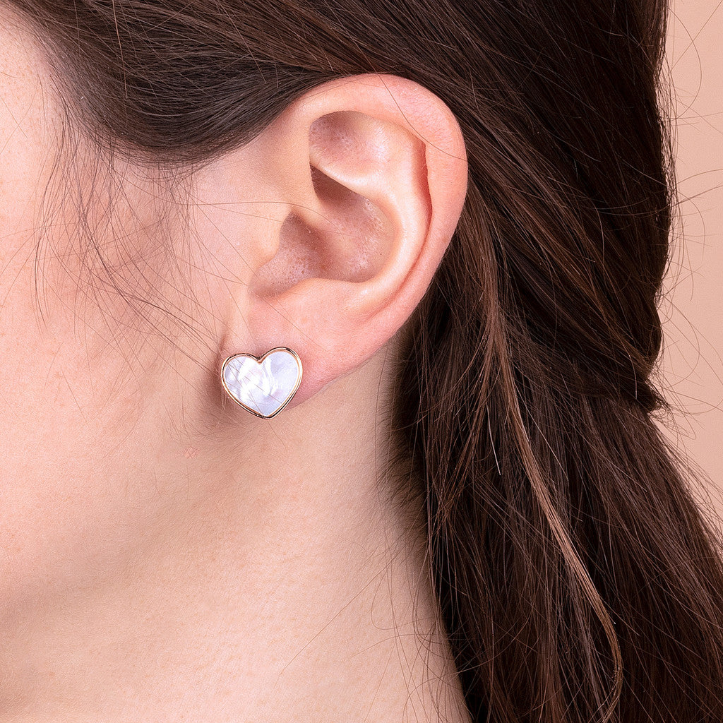 worn earrings, jewelry, bijoux, stud earrings, earrings for women, rose gold earrings, earrings for girls, hypoallergenic earrings, stone earrings WHITE MOP