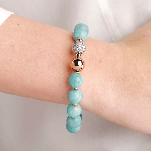 worn gemstone bead bracelet
