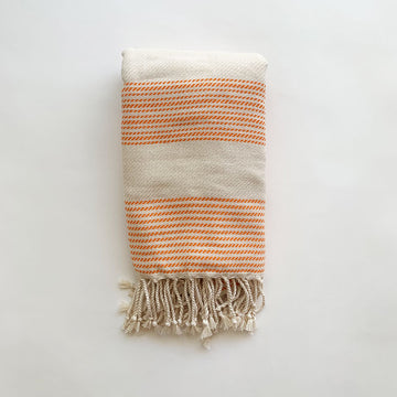 Rasim Arabaci,  Textiles,  Coast Modern Turkish Towel  - Sila Orange / White, - Coast Modern